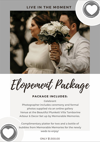 Elopement Package Tamborine Wedding Covid-19